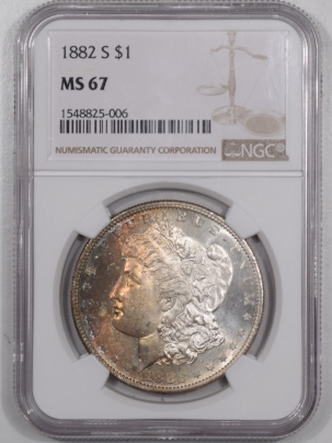 Morgan Dollars 1882-S MORGAN DOLLAR – NGC MS-67, PRETTY!