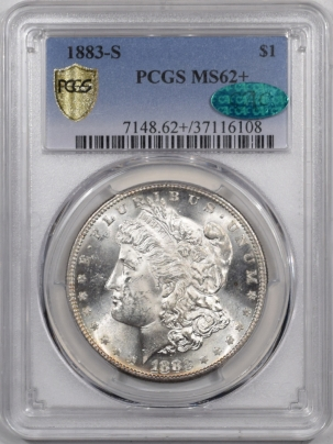 CAC Approved Coins 1883-S MORGAN DOLLAR PCGS MS-62+ CAC, BLAST WHITE, GREAT LUSTER, LOOKS 63
