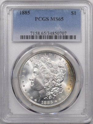 Morgan Dollars 1885 MORGAN DOLLAR – PCGS MS-65, PREMIUM QUALITY+!