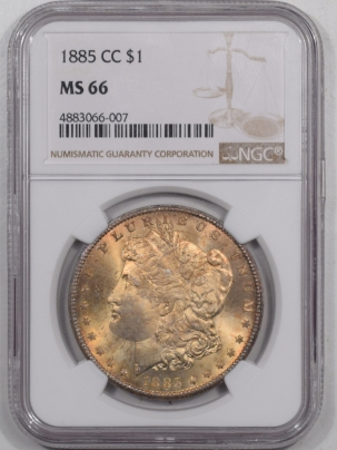 New Certified Coins 1885-CC MORGAN DOLLAR NGC MS-66, PRETTY & SUPERB GEM