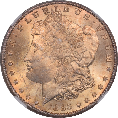 Coin World/Numismatic News Featured Coins 1885-CC MORGAN DOLLAR NGC MS-66, PRETTY & SUPERB GEM