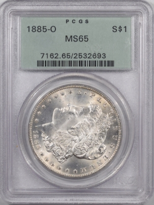Morgan Dollars 1885-O MORGAN DOLLAR – PCGS MS-65, PREMIUM QUALITY! OGH!