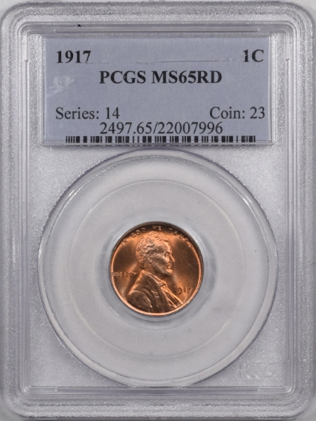 Coin World/Numismatic News Featured Coins 1917 LINCOLN CENT PCGS MS-65 RD PREMIUM QUALITY+ FIERY & LOOKS MS-66 RED