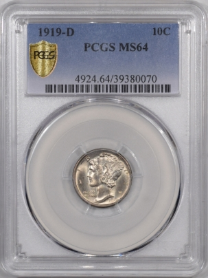 Coin World/Numismatic News Featured Coins 1919-D MERCURY DIME PCGS MS-64 PREMIUM QUALITY! LOOKS MS-65!