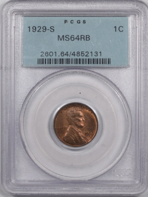 Lincoln Cents (Wheat) 1929-S LINCOLN CENT PCGS MS-64 RB
