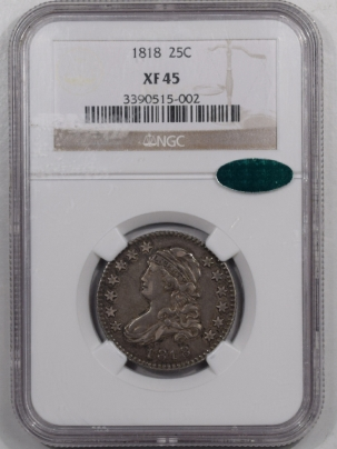 Coin World/Numismatic News Featured Coins 1818 CAPPED BUST QUARTER – NGC XF-45 FRESH & SEMI PL! CAC APPROVED!
