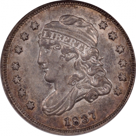 Coin World/Numismatic News Featured Coins 1837 CAPPED BUST HALF DIME – LARGE LM-1 – NGC AU-58 FRESH PQ! AND SEMI PL