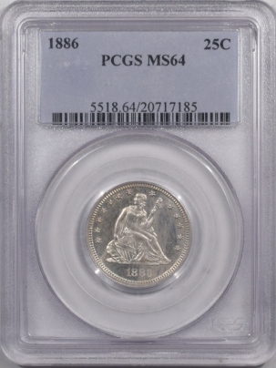 New Certified Coins 1886 SEATED LIBERTY QUARTER – PCGS MS-64 MINTAGE 5000 RARE IN MS!