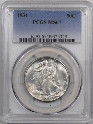 New Certified Coins 1934 WALKING LIBERTY HALF DOLLAR PCGS MS-67 PREMIUM QUALITY! WHITE!