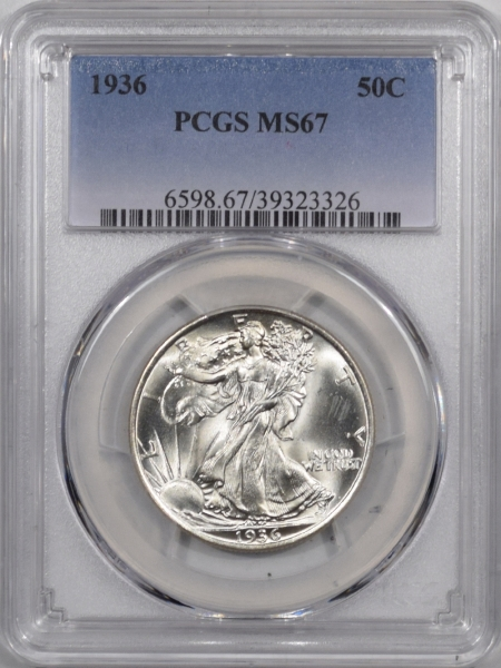 New Certified Coins 1936 WALKING LIBERTY HALF DOLLAR PCGS MS-67 PREMIUM QUALITY! WHITE!