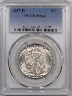 New Certified Coins 1937-D WALKING LIBERTY HALF DOLLAR PCGS MS-66, BLAST WHITE & NICE!