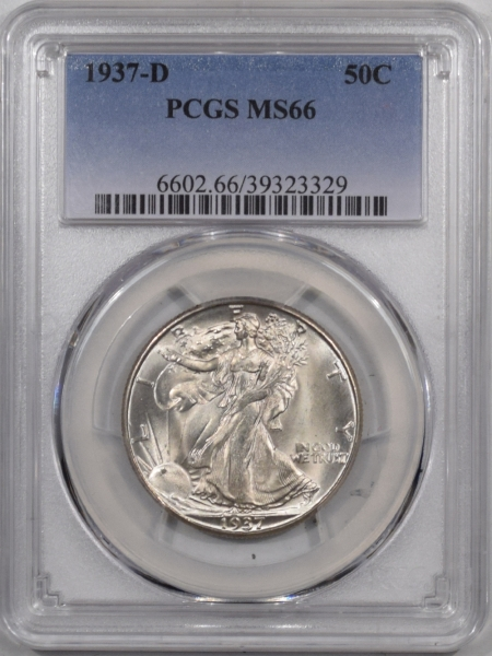 Coin World/Numismatic News Featured Coins 1937-D WALKING LIBERTY HALF DOLLAR PCGS MS-66, BLAST WHITE & NICE!