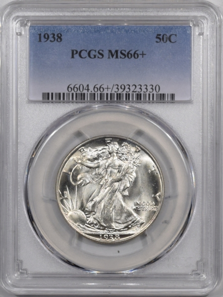 Coin World/Numismatic News Featured Coins 1938 WALKING LIBERTY HALF DOLLAR PCGS MS-66+ BLAST WHITE AND PREMIUM QUALITY!