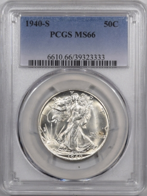 New Certified Coins 1940-S WALKING LIBERTY HALF DOLLAR PCGS MS-66 FRESH & FLASHY!