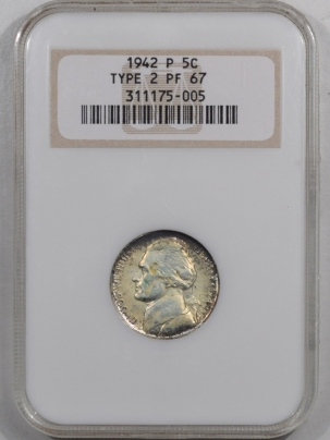 Jefferson Nickels 1942-P JEFFERSON NICKEL TY II NGC PF-67 FRESH & PREMIUM QUALITY! OLD FATTY!