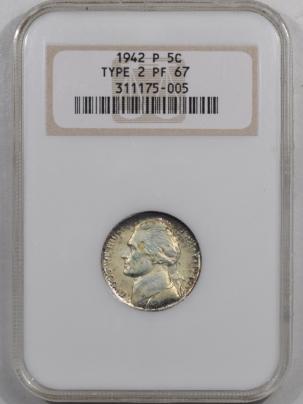 Jefferson Nickels 1942-P JEFFERSON NICKEL TY II NGC PF-67 FRESH & PREMIUM QUALITY! OLD FATTY!