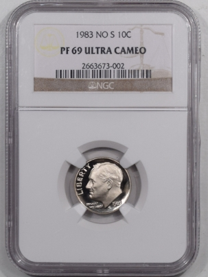 New Certified Coins 1983 No S PROOF ROOSEVELT DIME – NGC PF-69 ULTRA CAMEO