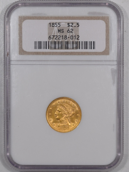 Coin World/Numismatic News Featured Coins 1855 $2.50 LIBERTY HEAD GOLD – NGC MS-62