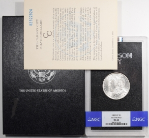 Morgan Dollars 1882-CC MORGAN DOLLAR GSA WITH BOX & CARD – NGC MS-63