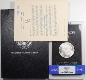 CAC Approved Coins 1882-CC MORGAN DOLLAR GSA WITH BOX & CARD – NGC MS-63 CAC APPROVED!