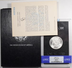 Morgan Dollars 1884-CC MORGAN DOLLAR GSA WITH BOX & CARD – NGC MS-62