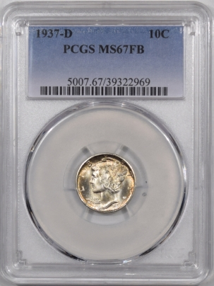 Mercury Dimes 1937-D MERCURY DIME – PCGS MS-67 FB PREMIUM QUALITY LOOKS MS-67+