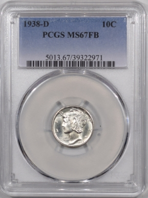 Mercury Dimes 1938-D MERCURY DIME – PCGS MS-67 FB FRESH & PREMIUM QUALITY LOOKS 67+ TO US!