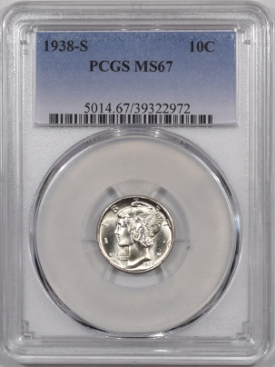 New Certified Coins 1938-S MERCURY DIME – PCGS MS-67 PREMIUM QUALITY & VIRTUALLY FSB!