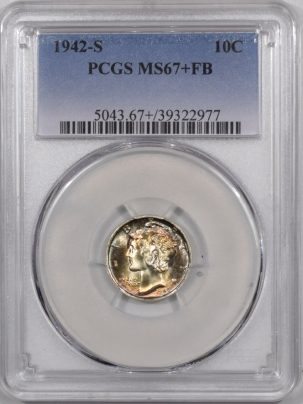 Mercury Dimes 1942-S MERCURY DIME – PCGS MS-67+ FB SUPER FLASHY & STUNNING TONING – WOW!