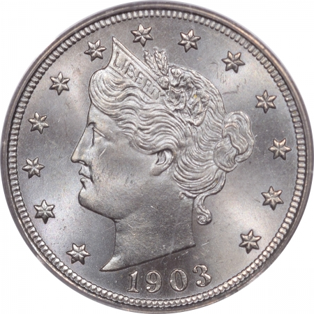 New Certified Coins 1903 LIBERTY NICKEL – PCGS MS-66 AN ICY BLUE BLASING HEADLIGHT – WOW!