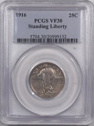 New Certified Coins 1916 STANDING LIBERTY QUARTER – PCGS VF-30