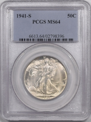 New Certified Coins 1941-S WALKING LIBERTY HALF DOLLAR – PCGS MS-64 FLASHY WHITE W/ MS-66 LUSTER!