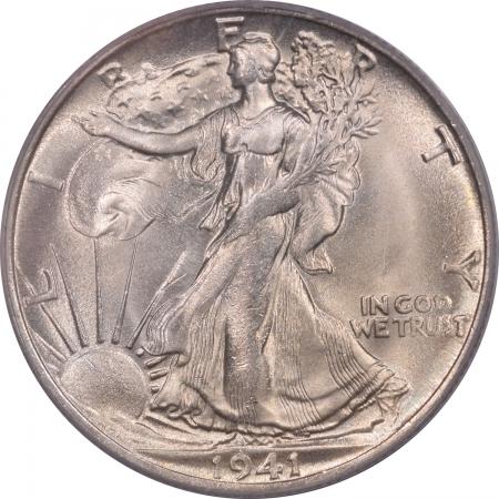 Walking Liberty Halves 1941-S WALKING LIBERTY HALF DOLLAR – PCGS MS-64 FLASHY WHITE W/ MS-66 LUSTER!