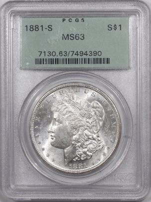 Morgan Dollars 1881-S MORGAN DOLLAR – PCGS MS-63 PREMIUM QUALITY! OLD GREEN HOLDER!