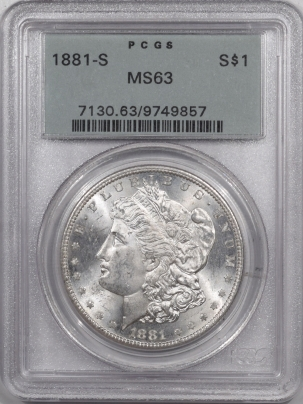 Morgan Dollars 1881-S MORGAN DOLLAR – PCGS MS-63 PREMIUM QUALITY, OLD GREEN HOLDER!