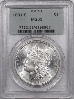 Morgan Dollars 1881-S MORGAN DOLLAR – PCGS MS-63 PREMIUM QUALITY, OLD GREEN HOLDER!