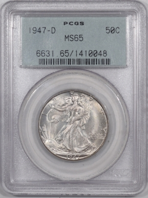 New Certified Coins 1947-D WALKING LIBERTY HALF DOLLAR – PCGS MS-65 PREMIUM QUALITY++ OGH