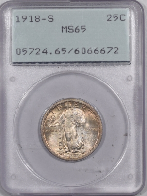 New Certified Coins 1918-S STANDING LIBERTY QUARTER – PCGS MS-65 PREMIUM QUALITY! RATTLER! FRESH!