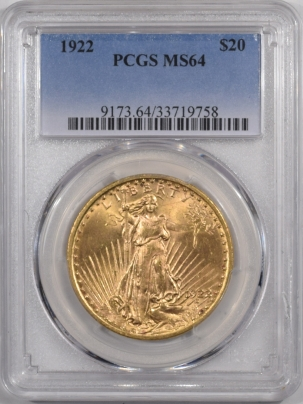 New Certified Coins 1922 $20 ST GAUDENS GOLD – PCGS MS-64