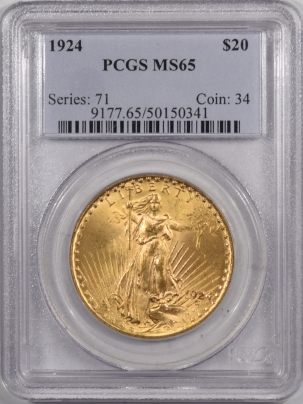 New Certified Coins 1924 $20 ST GAUDENS GOLD – PCGS MS-65