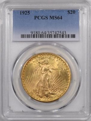 $20 1925 $20 ST GAUDENS GOLD – PCGS MS-64