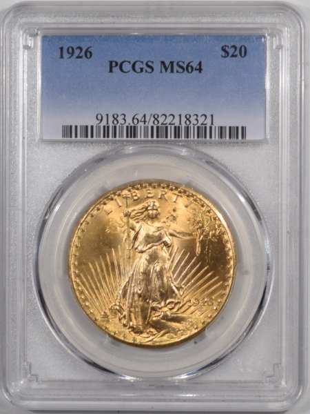 New Certified Coins 1926 $20 ST GAUDENS GOLD – PCGS MS-64 PREMIUM QUALITY!