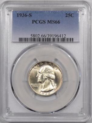 New Certified Coins 1936-S WASHINGTON QUARTER – PCGS MS-66 FLASHY!