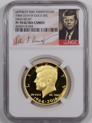 New Certified Coins 2014-W 50C KENNEDY 50TH ANNIVERSARY GOLD HIGH RELIEF 3/4OZ NGC PF-70 ULTRA CAMEO