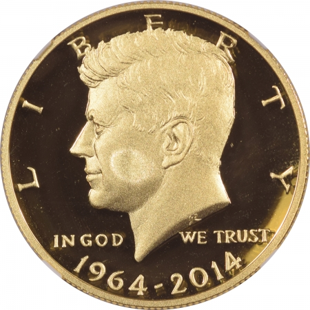 Coin World/Numismatic News Featured Coins 2014-W 50C KENNEDY 50TH ANNIVERSARY GOLD HIGH RELIEF 3/4OZ NGC PF-70 ULTRA CAMEO