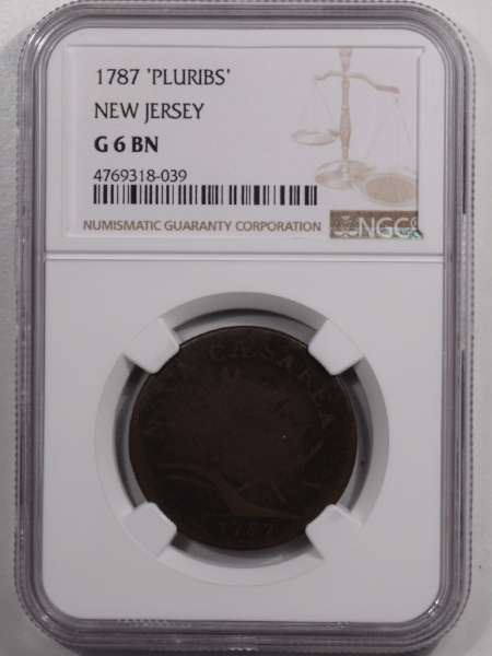 Colonials 1787 NEW JERSEY COLONIAL COPPER CENT, PLURIBS – NGC G-6 BN