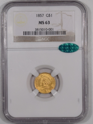 CAC Approved Coins 1857 $1 LIBERTY HEAD GOLD – NGC MS-63 PREMIUM QUALITY LOOKS MS-64+ CAC APPROVED!