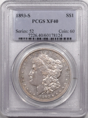 Morgan Dollars 1893-S MORGAN DOLLAR – PCGS XF-40 OLD HOLDER W/ NICE LOOK! PREMIUM QUALITY!