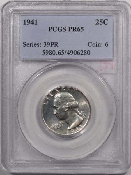 New Certified Coins 1941 PROOF WASHINGTON QUARTER – PCGS PR-65 ORIGINAL GEM!