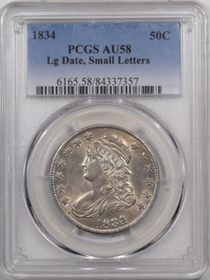 Early Halves 1834 CAPPED BUST HALF DOLLAR – LARGE DATE, SMALL LETTERS – PCGS AU-58